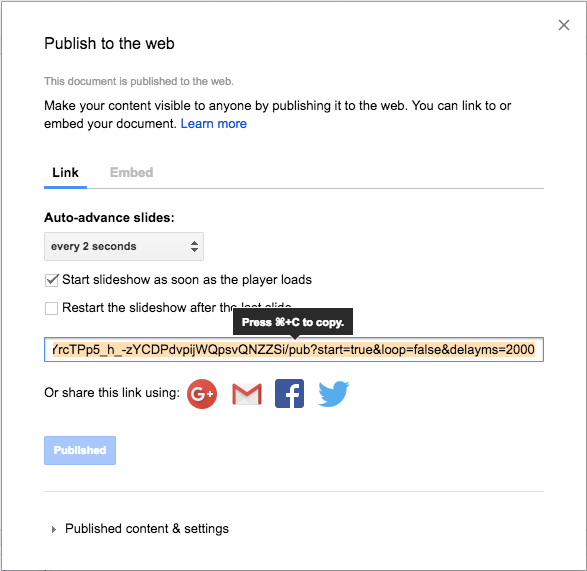 Google Slides 'Publish to the web' menu with settings as described for auto-advancing and auto-starting the slideshow