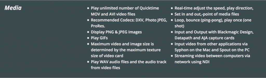 Media specifications for the EDA immersive projection system.